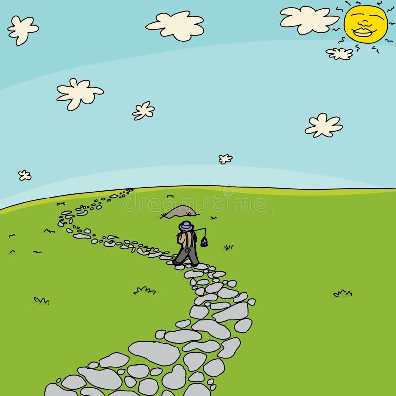 Pescador Walking no trajeto no campo ilustração do vetor
