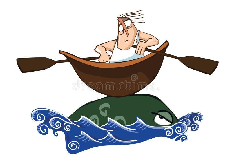 Pescador y monstruo stock de ilustración