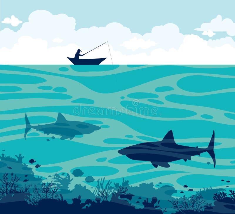 Pescador y tiburones en un mar ilustración del vector
