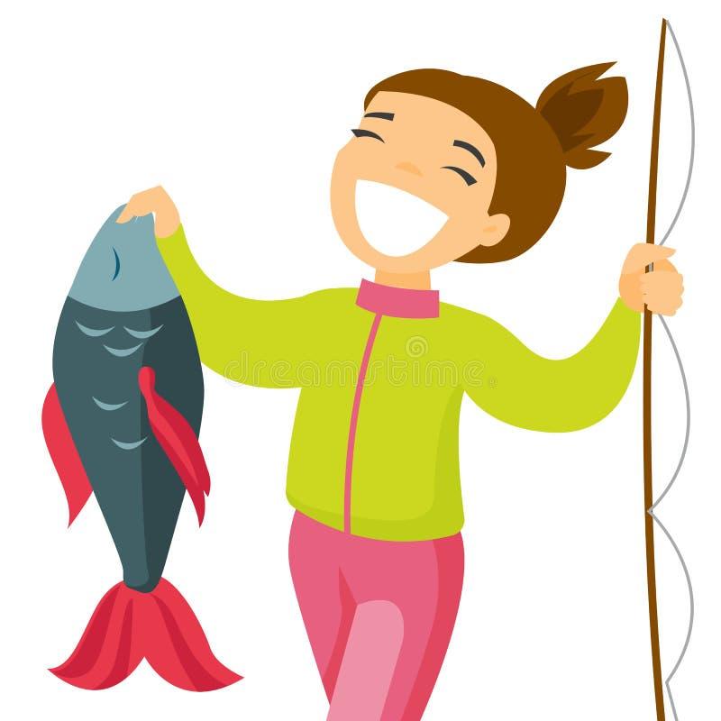 Pescadora branca caucasiano que guarda peixes ilustração do vetor