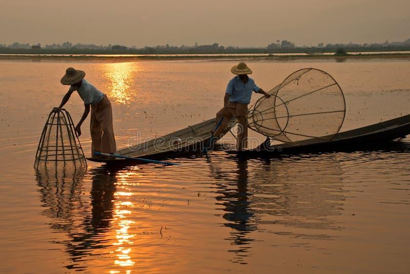 Pescadores Burmese fotos de archivo