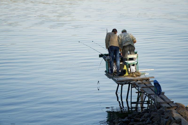 Pescadores com a haste que relaxa durante a pesca no cais de madeira com o junco no rio fotos de stock royalty free