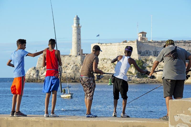 Pescadores cubanos imagens de stock