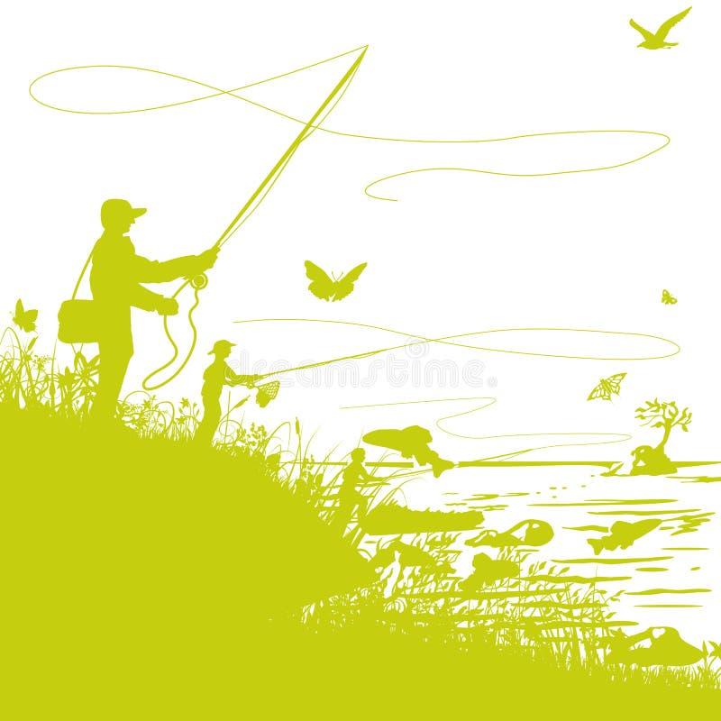 Pescadores en el río y la pesca con mosca ilustración del vector