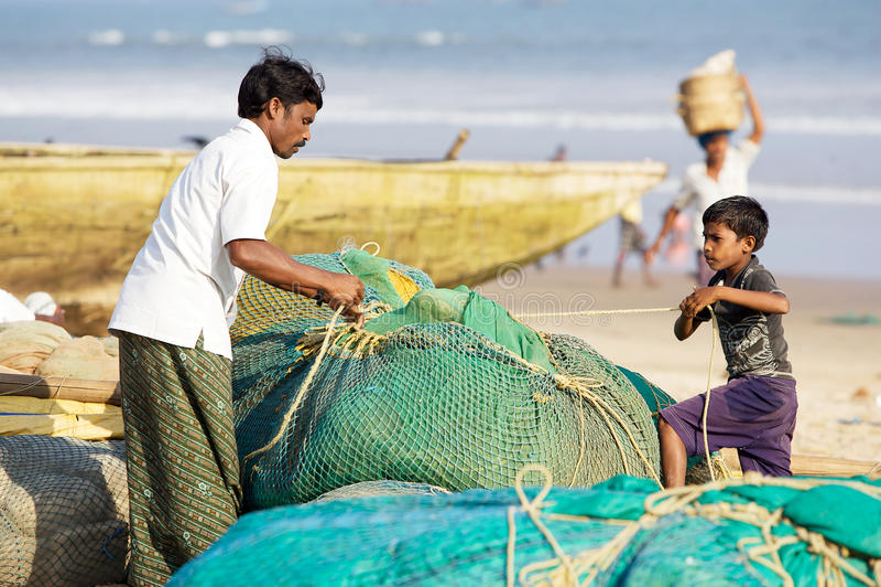 Pescadores indios imagen de archivo