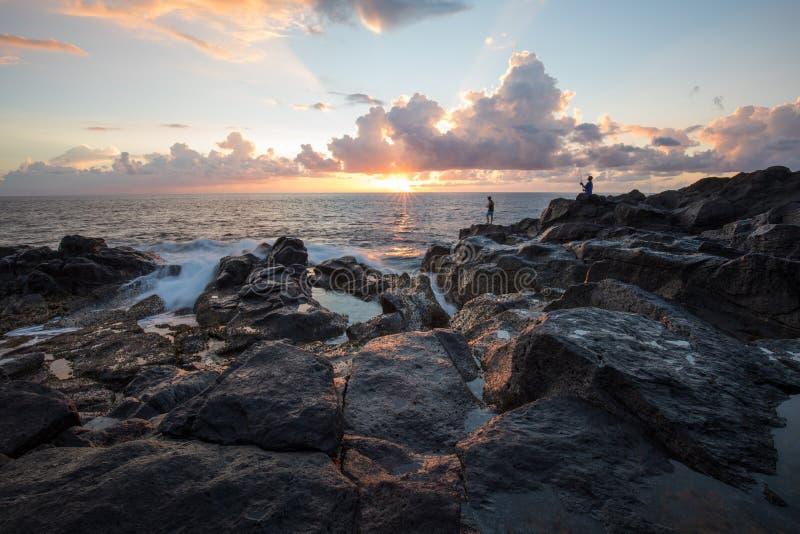 Pescadores no Gouffre da venda de Etang em Reunion Island foto de stock royalty free