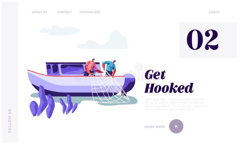 Pescadores que trabalham em peixes de travamento do grande barco e que puxam a rede de pesca do mar, ind?stria de pesca, trabalho ilustração do vetor