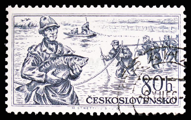 Pescadores, serie checoslovaco de la riqueza, circa 1956 imagen de archivo libre de regalías
