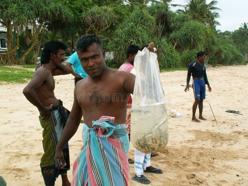 Pescadores srilanqueses fotografía de archivo libre de regalías