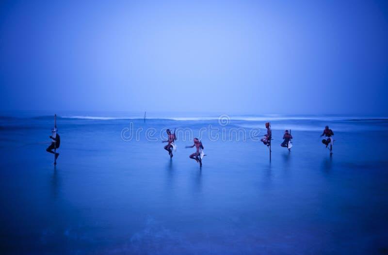Pescadores tradicionales del zanco en Sri Lanka imagenes de archivo