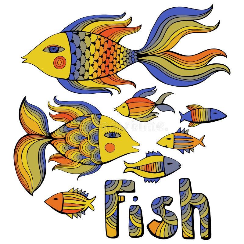Pescados agradables de la historieta fijados Imagen del vector ilustración del vector