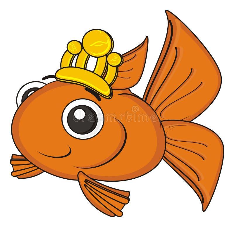 Pescados anaranjados con la corona ilustración del vector