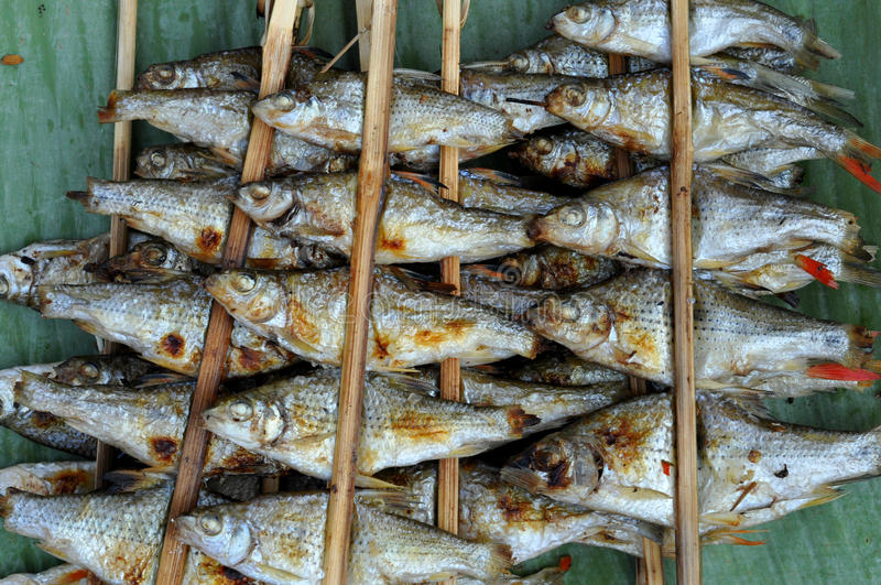 Pescados asados a la parrilla imagenes de archivo