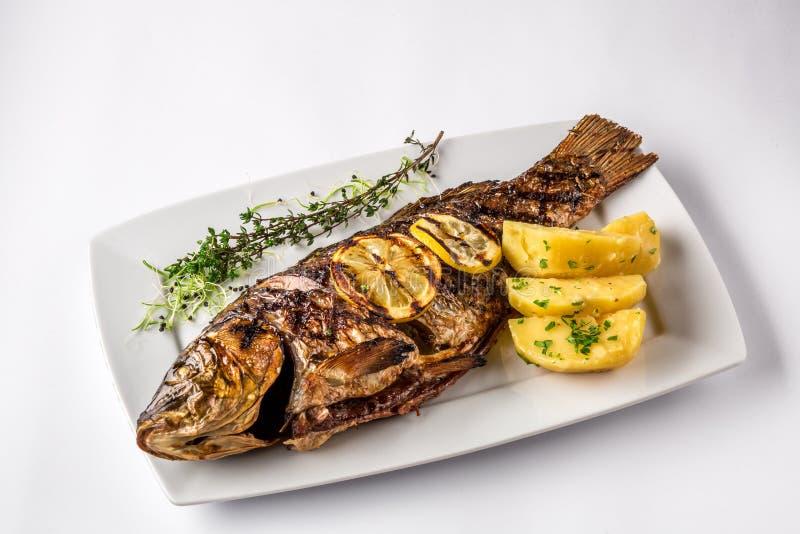Pescados asados a la parrilla de la carpa con las patatas y el limón, cierre del romero para arriba foto de archivo