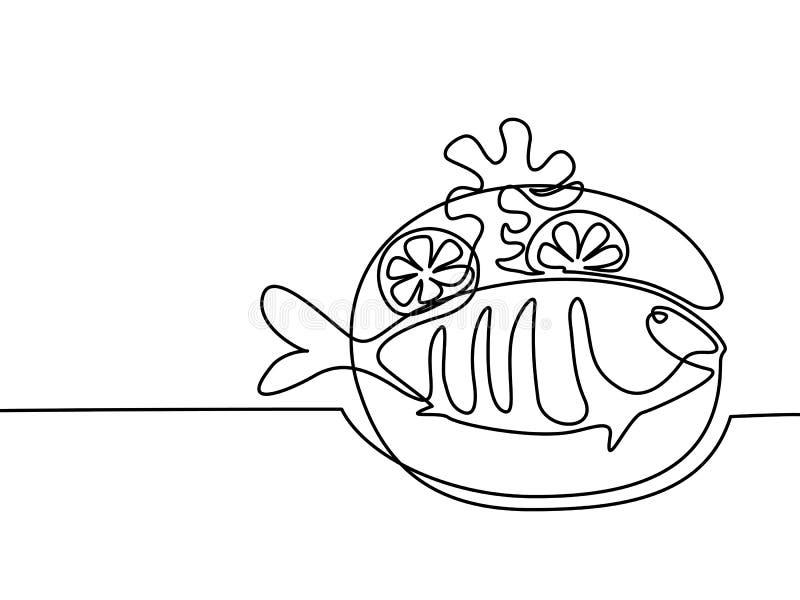 Pescados asados a la parrilla en la placa con el limón y la patata ilustración del vector
