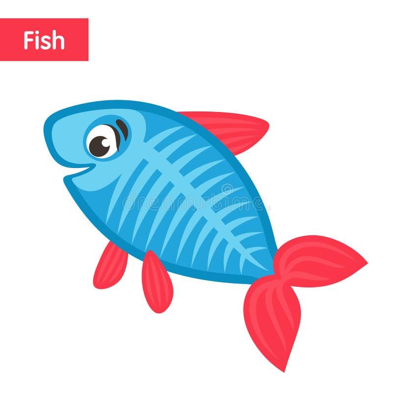 Pescados azules cómicos con las aletas y la cola rosadas libre illustration