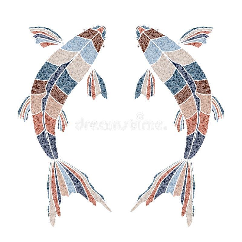 Pescados brillantes, muestra de Piscis del zodiaco ilustración del vector