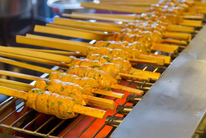 Pescados cocidos al vapor con la goma del curry asada a la parrilla foto de archivo libre de regalías