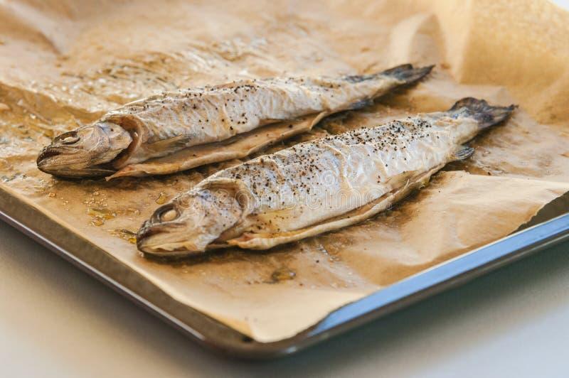 Pescados cocidos deliciosos en el papel de pergamino, imágenes de archivo libres de regalías