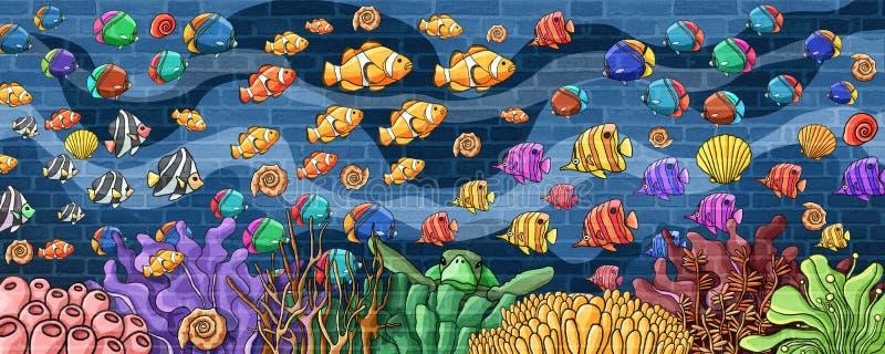 Pescados coloridos del mundo subacuático y pared subacuática de la atmósfera ilustración del vector