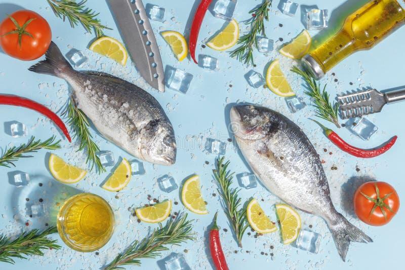 Pescados crudos del dorada con las especias, la sal, el limón y las hierbas, romero en un fondo ligth-azul Visión superior fotos de archivo libres de regalías