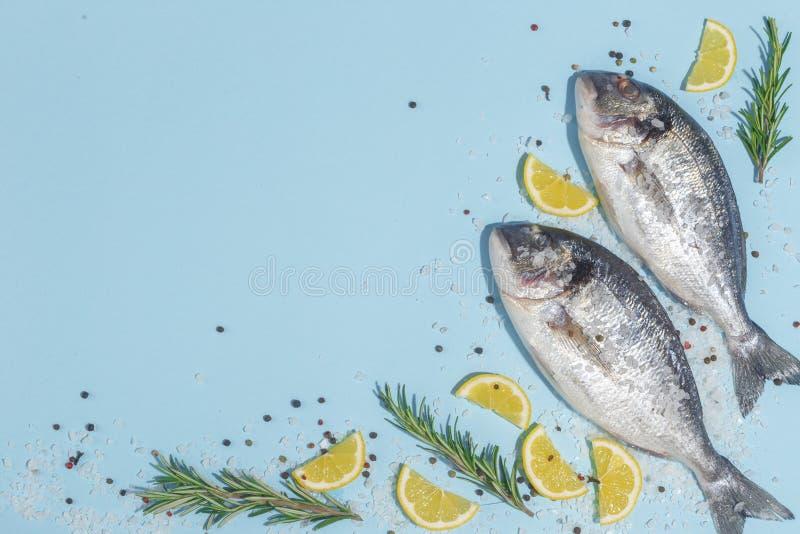 Pescados crudos del dorada con las especias, la sal, el limón y las hierbas, romero en un fondo ligth-azul Visión superior imagen de archivo
