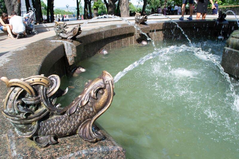 Pescados de bronce de la fuente foto de archivo libre de regalías