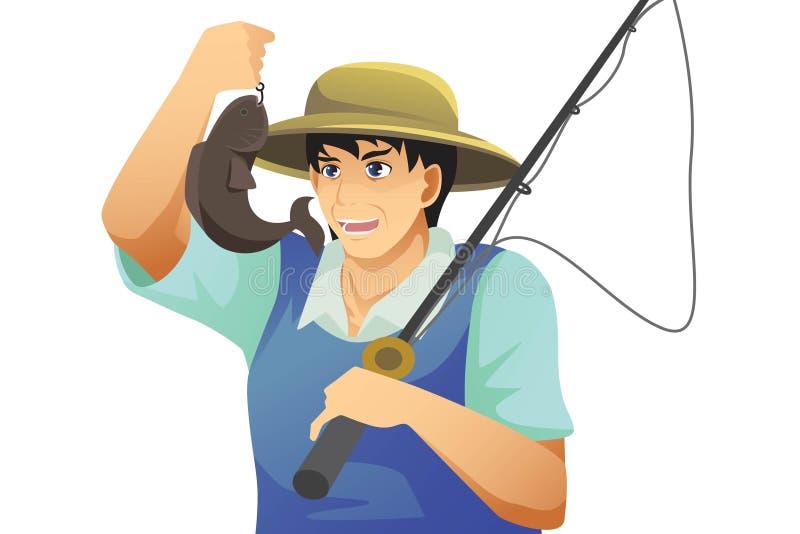 Pescados de cogida del pescador stock de ilustración