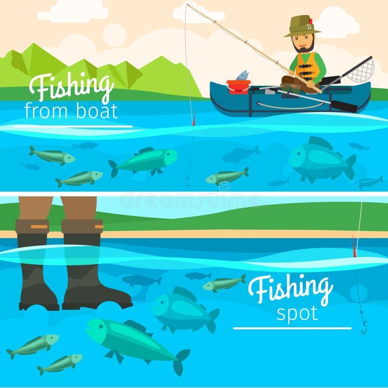 Pescados de cogida del pescador en el lago stock de ilustración
