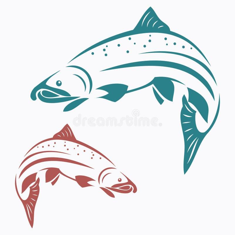 Pescados de color salmón stock de ilustración