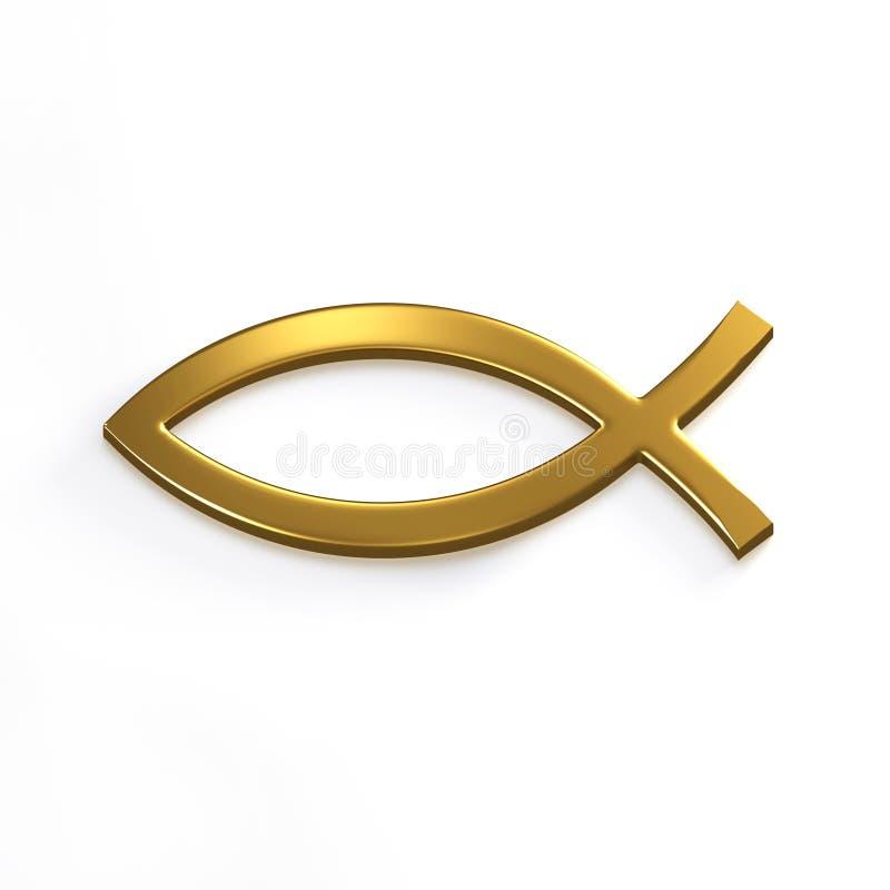Pescados de Cristo del oro 3d rinden la ilustración ilustración del vector