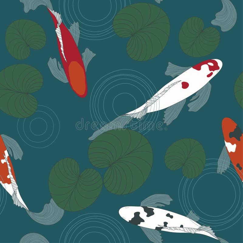 Pescados de Koi en la charca stock de ilustración