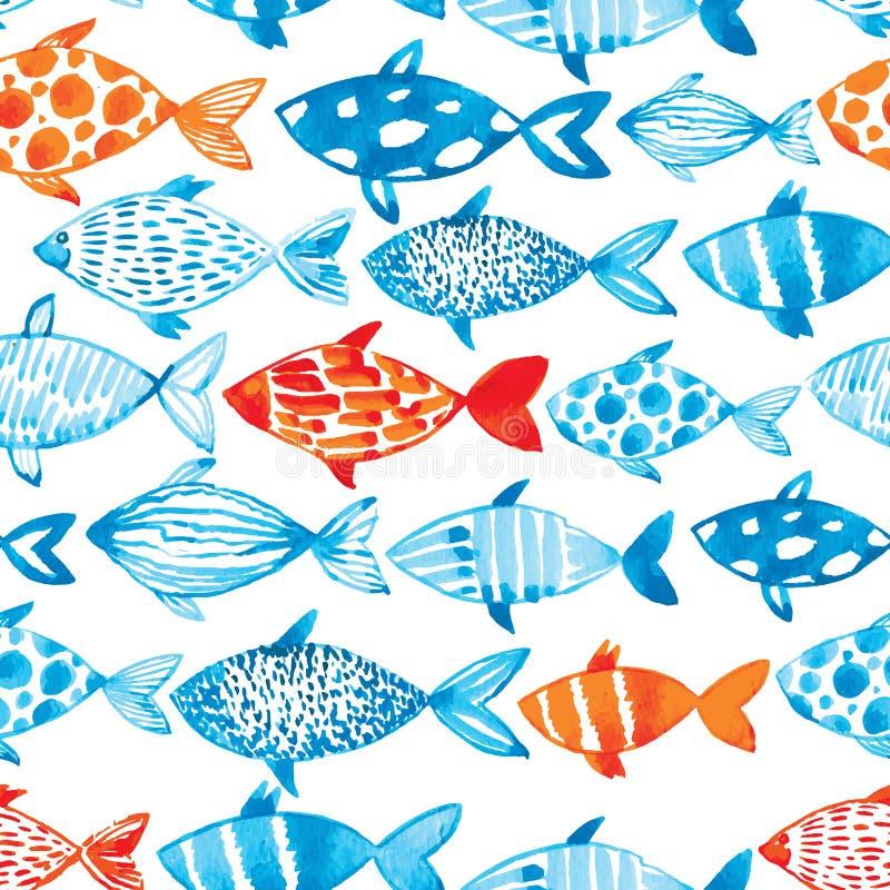 Pescados de la acuarela del vector en fondo ligero Modelo s de la acuarela libre illustration