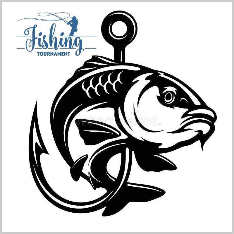 Pescados de la carpa Muestra o emblema del club de la pesca Insignia de la aventura del deporte del pescador con el logotipo del  ilustración del vector