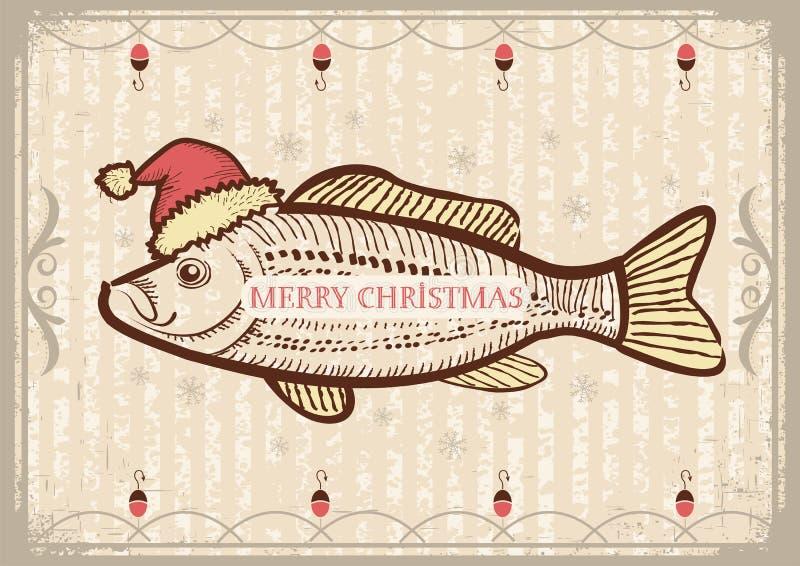 Pescados de la Navidad en sombrero del rojo de Papá Noel. Vintage que dibuja el Ca libre illustration