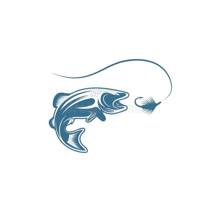 Pescados de la trucha y diseño del vector del señuelo ilustración del vector
