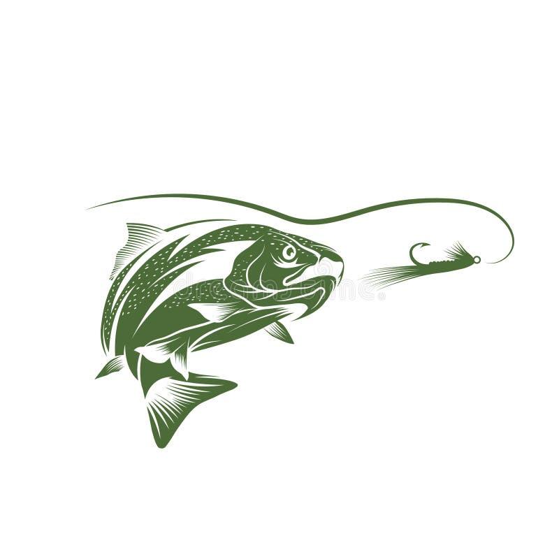 Pescados de la trucha y diseño del vector del señuelo stock de ilustración