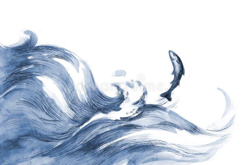 Pescados de mar stock de ilustración