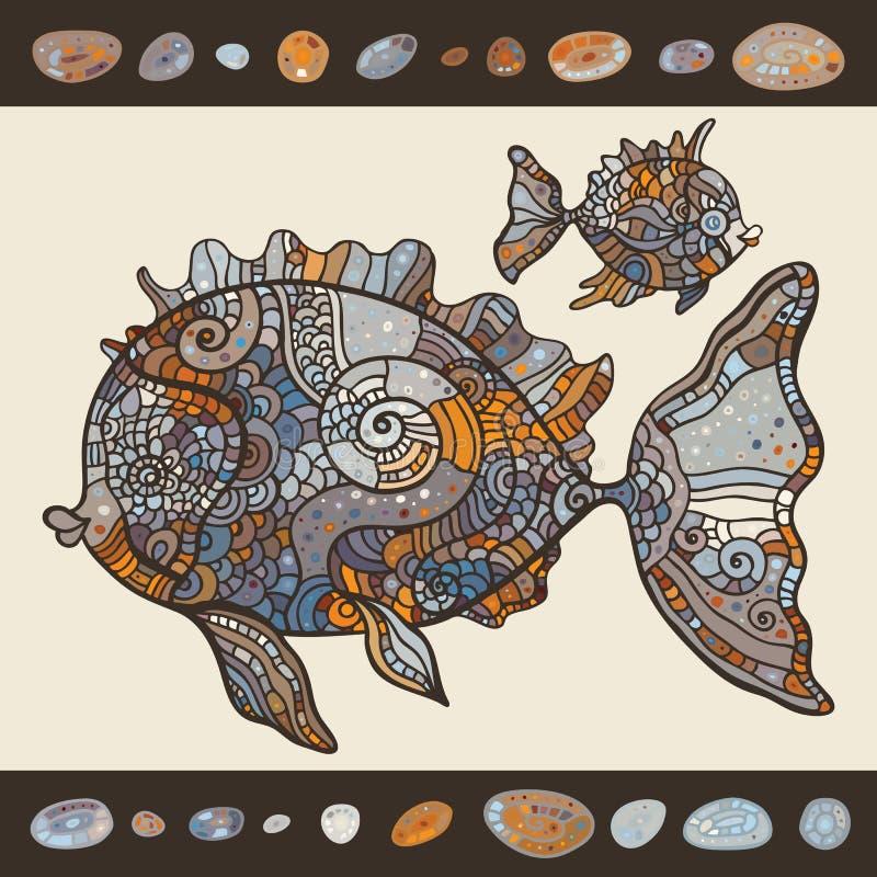 Pescados de mar abstractos de la historieta. libre illustration