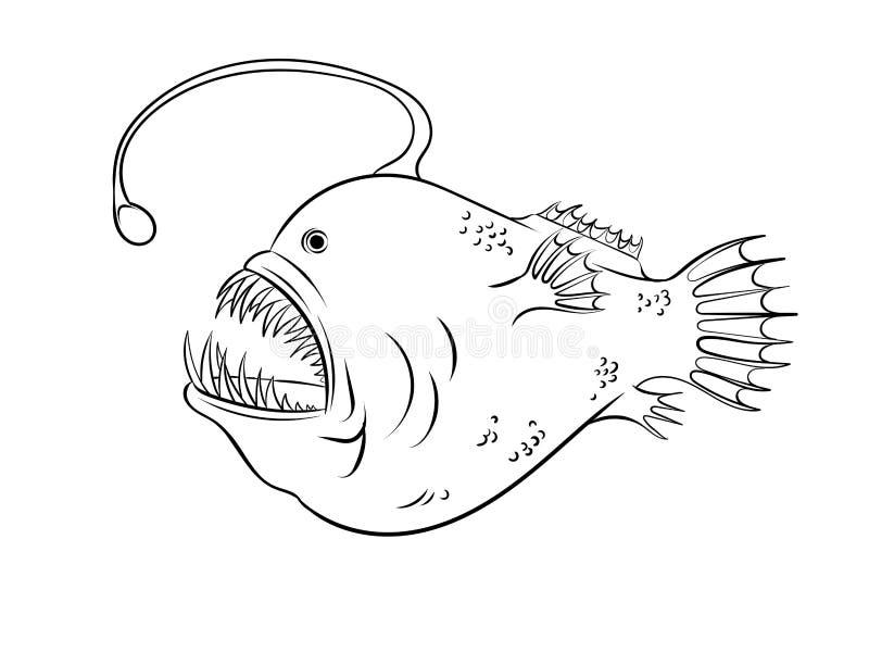 Pescados De Mar Profundo Con Vector Ligero Del Colorante Ilustración ...