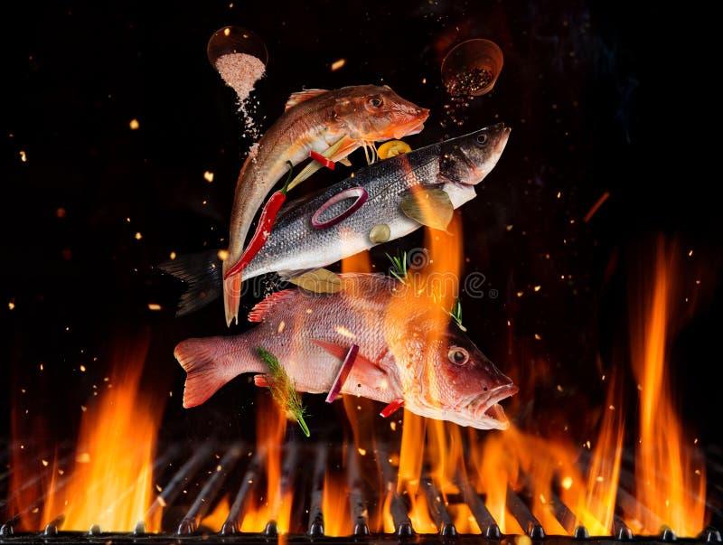 Pescados de mar que vuelan sobre rejilla ardiendo de la parrilla ilustración del vector