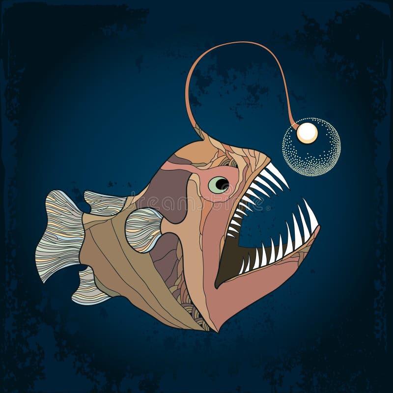 Pescados de pescador o monkfish con la linterna en el fondo oscuro texturizado Piscatorius del Lophius stock de ilustración