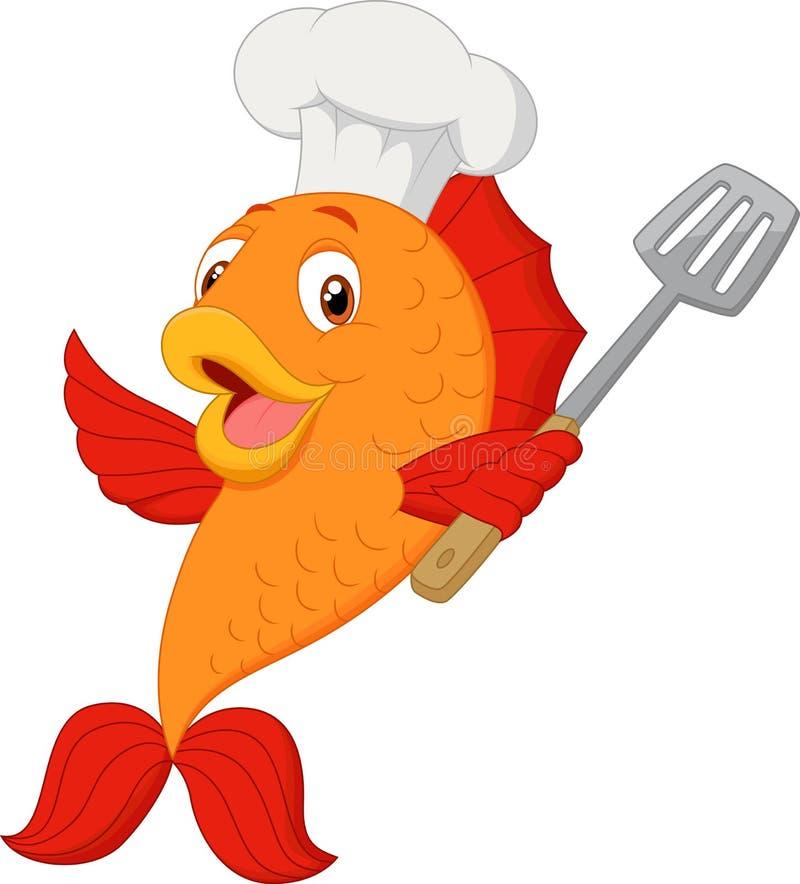 Pescados del cocinero de la historieta que sostienen la espátula libre illustration