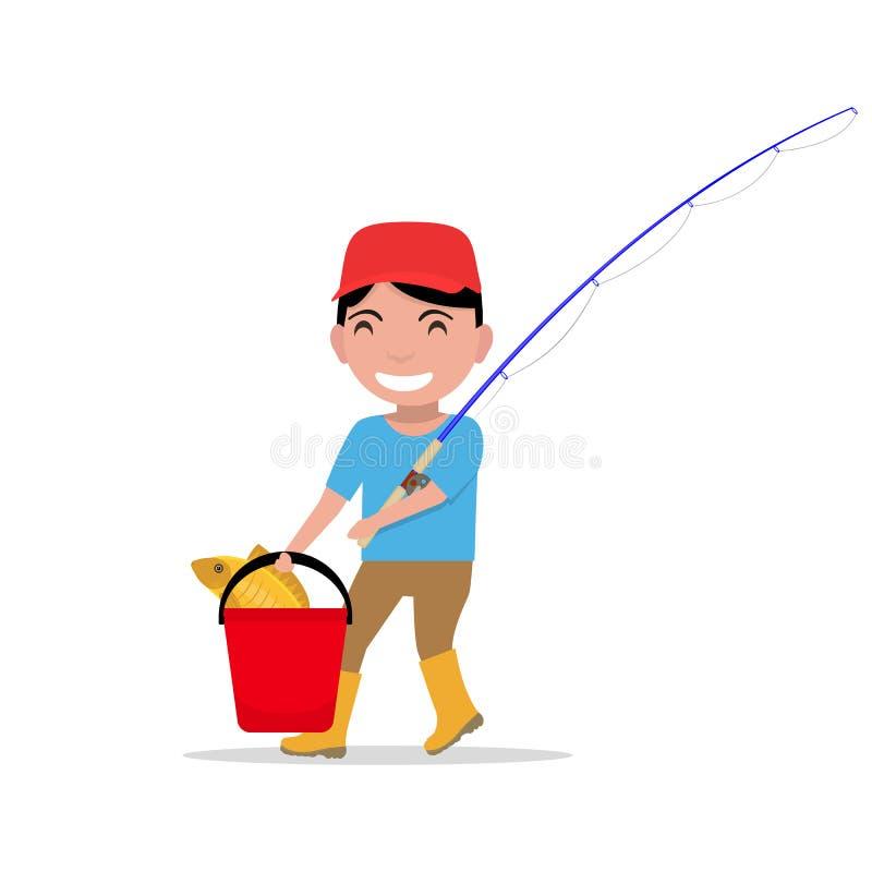 Pescados del cubo de la caña de pescar del muchacho de la historieta del vector que van stock de ilustración