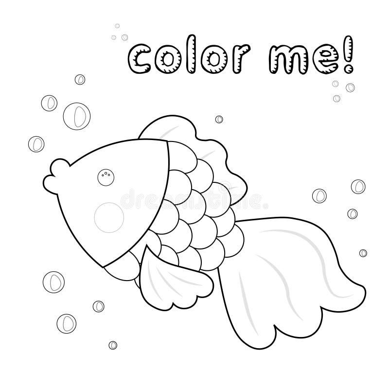 Pescados del esquema colorante Personaje de dibujos animados blanco y negro de los pescados Ilustraci?n del vector en el fondo bl libre illustration