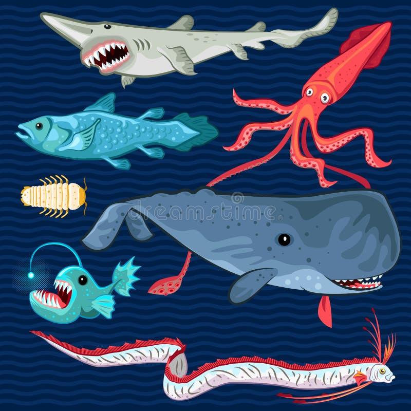 Pescados del sistema azul profundo de la colección del mar stock de ilustración