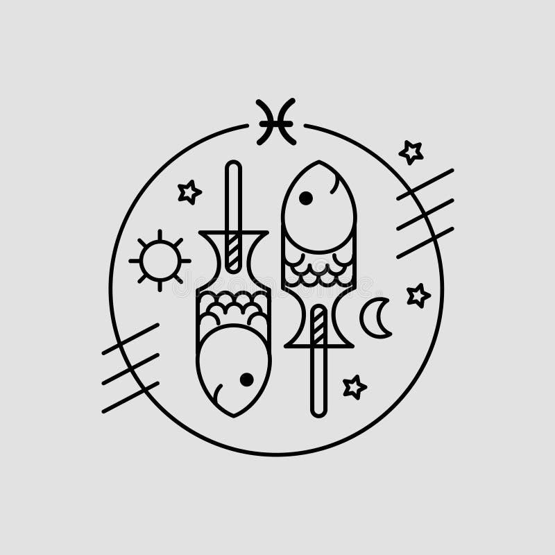 Pescados del vector o muestra del zodiaco de Piscis, logotipo o ejemplo ilustración del vector