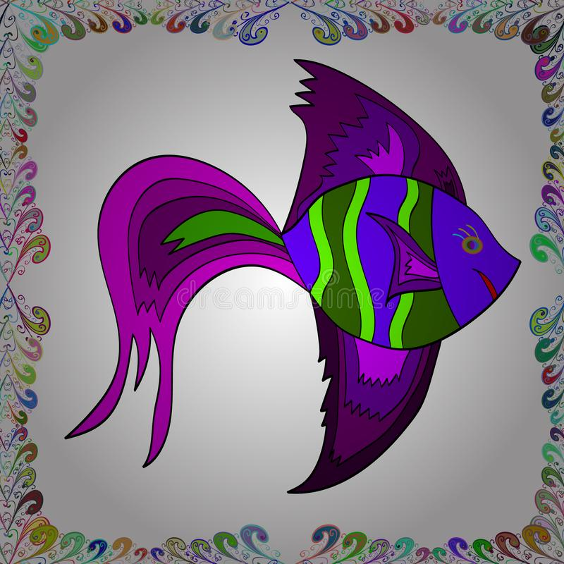 Pescados en blanco, púrpura y verde libre illustration