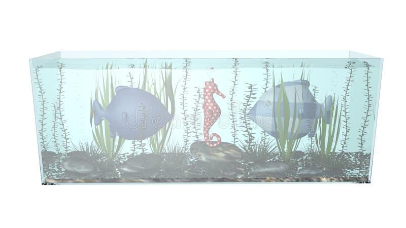 Pescados en el ejemplo de la composición 3D del acuario foto de archivo