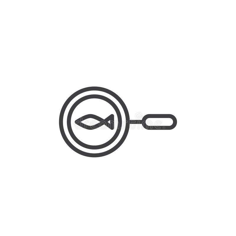 Pescados en la línea icono de la cacerola ilustración del vector